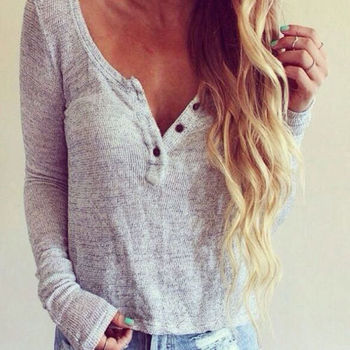 Hot Fashion Women Deep V Neck Loose T-Shirt Casual Knit Long Sleeve Jumper Tops Solid Plain Pullover Sweater
