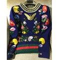 Высокое качество Взлетно-Посадочной Полосы тяжелая вышивка свитер 2016 осень зима старинные цветок бабочка вышивка трикотажные свитера трикотаж