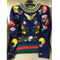 High quality Runway heavy embroidery sweater 2016 autumn winter vintage flower butterfly embroidery knitted sweaters knitwear