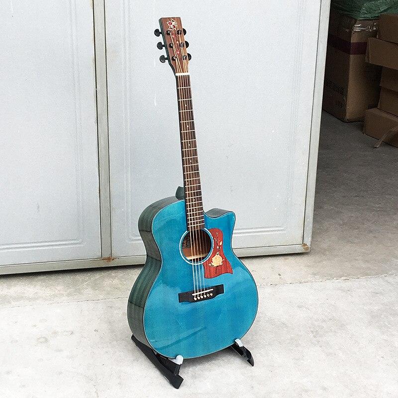 Guitar Acoustic Top Solid Steel-String Balladry Folk Pop Flattop 41 Inch Guitarra Blue Picea Asperata Light Cutaway top quality 38 guitar acoustic guitar folk 6 string guitar spruce colour free shipping