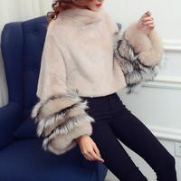 2018 new women real mink fur coat European style detachable sleeve pullover natural mink fur short jacket for winter plus size