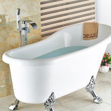Wholesale And Retail Free Standing Bathroom Bathtub Faucet + Handheld Shower Chrome Finish Single Handle Tub Mixer Taps