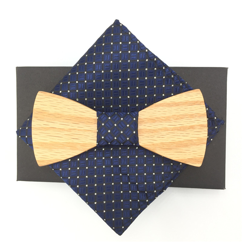 Romantic Hollow Wood Bow ties Bowtie with handkerchief For Men Wooden bow tie for Christmas gift With pocket squares