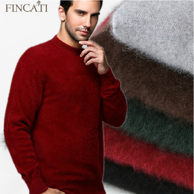 2018 Men's Fluffy Mink Cashmere Sweaters Winter Autumn Men O-Neck Long Sleeve Pullovers Soft Warm Knitwear Jersey Pulls Clothing