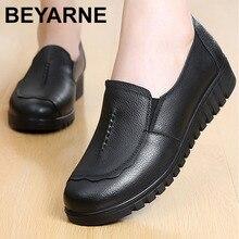 BEYARNEGenuineรองเท้าหนังผู้หญิงBig size4.5 9 รอบToe designer flatshoesผู้หญิงสวมใส่Light loafersฤดูใบไม้ผลิ/autumnE010