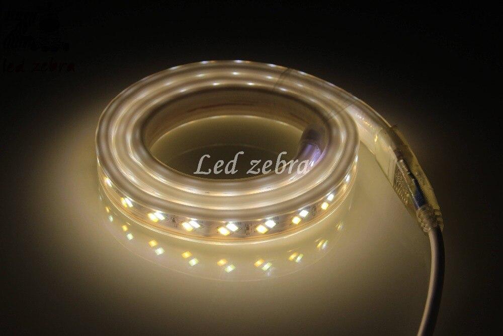 Super lumineux ca 220 v 5730/5630 smd 120led/m a mené la lumière de bande, 50 m/100 m blanc/chaud blanc oblique pâte puce a mené la bande avec la prise de l'ue - 4