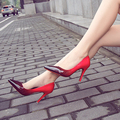 High-heeled shoes female thin heels pointed toe shoes shallow mouth all match gradient red japanned leather ol with shoes woman
