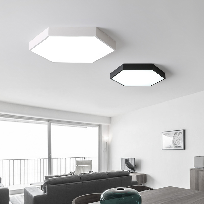 Us 97 8 Hexagon Modern Led Ceiling Light Living Room Bedroom Study Dimmable Black White Lamp Fixture Free Shipping In Lights From