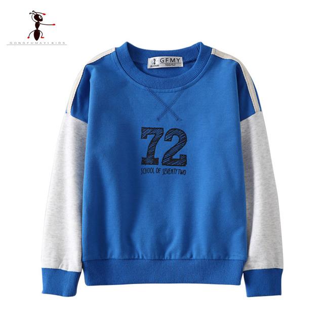 KungFu Ant Moda O-cuello de la Letra Niños Camisetas Muchachos de la Manga Completa Camisas de Marca Famosa Algodón Del Otoño Del Resorte 2618