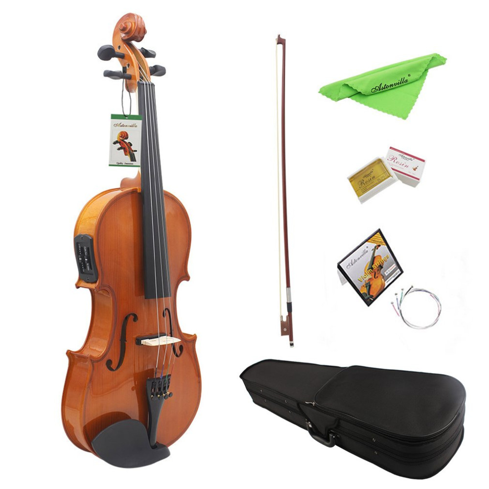 4 String 4/4 Electro-Acoustic Violin Solid Wood Electronic Violin Electric Box Violin Music Instrument For Beginners 4 string 4 4 new electric acoustic violin dark green color 1 2541