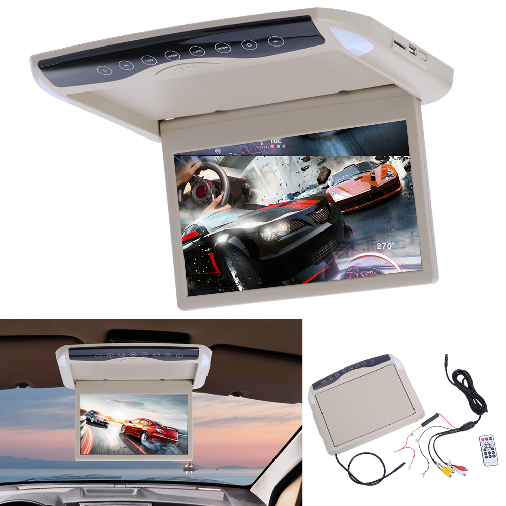 10 2 Video Input Flip Down TFT LCD Monitor MP5 Player Car Roof Mount Monitors Player With Remote Control