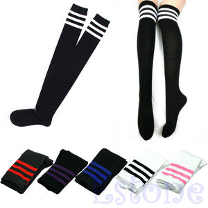 Women Sexy Stripe Cotton Over Knee Socks Thigh High Stockings Long Socks