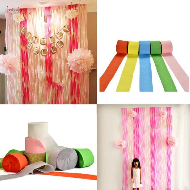 10m Colorful Crepe Paper Flower Ribbon Diy Wrinkles Paper Rolls