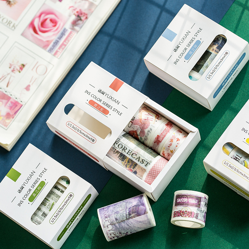 5pcs/pack Creative Imprint Magazine Washi Tape Diy Scrapbooking Sticker Label Masking Tape School Office Supply