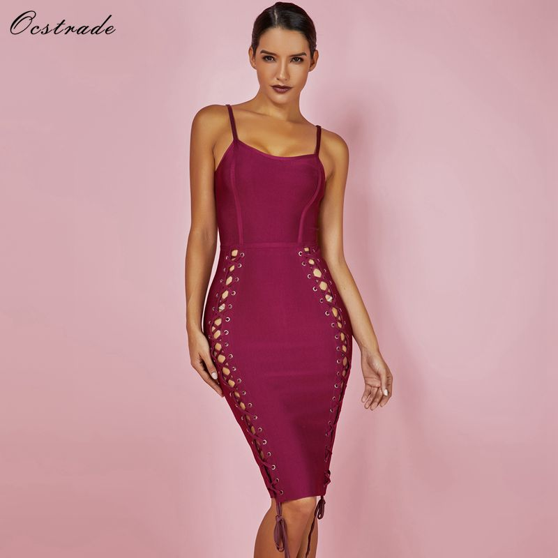 Ocstrade Vestidos Bandage 2018 Women New Year Dress Wine Red Spaghetti  Strap Rayon Bodycon Sexy Bandage Dress Club Wear Summer 256e9f005330