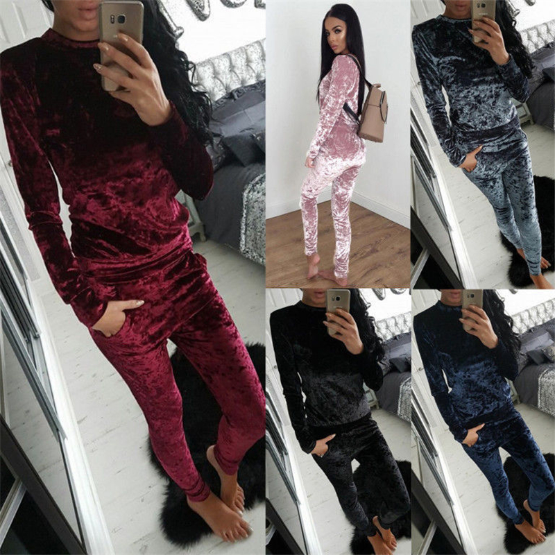 Cuifuli Velvet Women Sets 2017 Fashion Long Sleeve Bodycon Slim Sweat Suits Hoodies Tracksuit Sweatshirt Two Piece Trouser Women