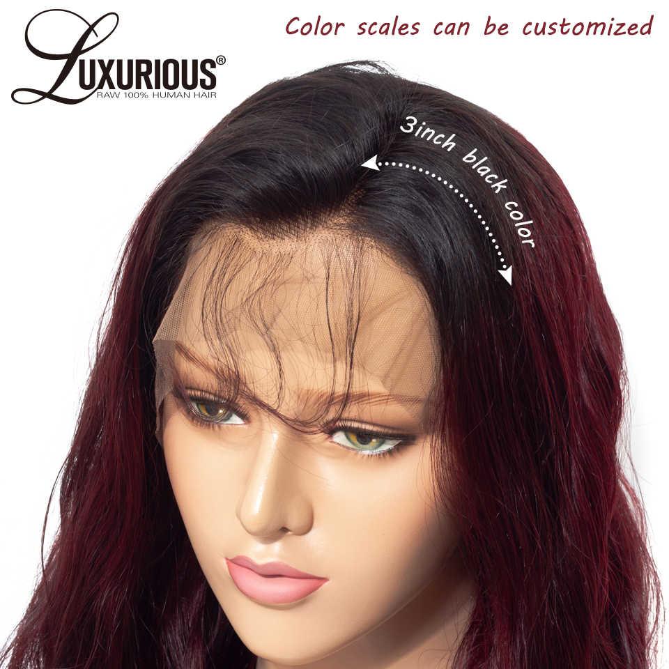 1b/99j Бургундия омбер цвет кружева передние человеческие волосы парики с детскими волосами бразильские Remy человеческие волосы парики для женщин отбеленные узлы