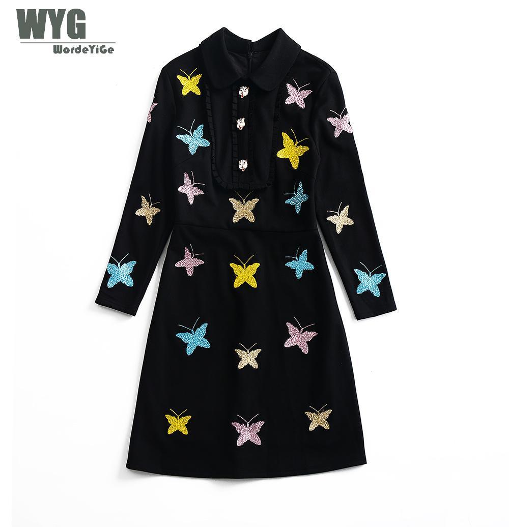 Cotton Dress Autumn 2018 WYG European Fashion Crystals Beading Butturfly Wrist Sleeve Womens Elegant Empire Black Mini Dresses