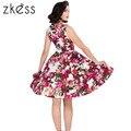 Hepburn zkess dress 1950 s rockabilly do vintage 2017 nova chegada o pescoço sem mangas estampado floral 40 s vestido de verão com cinto lc61142