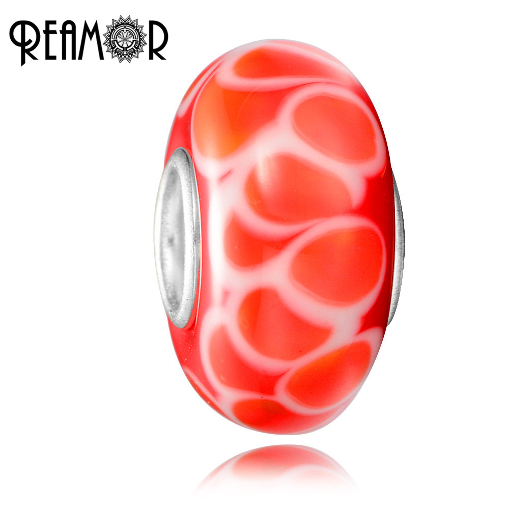 REAMOR Red Color Fish Scales Pattern European Lampwork Glass Spacer ...