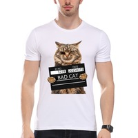 TEEHEART Men S Bad Cat Police Dept PrintT Shirt Cool Cat Print T Shirt Men Summer