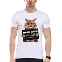 TEEHEART Men S Bad Cat Police Dept PrintT Shirt Cool Cat Print T Shirt Men Summer