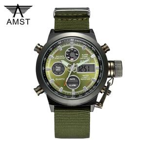 Image 1 - AMST צבאי שעונים צלילה 50 M ניילון & עור רצועת LED שעונים גברים למעלה מותג יוקרה קוורץ שעונים reloj hombre relogio Masculino