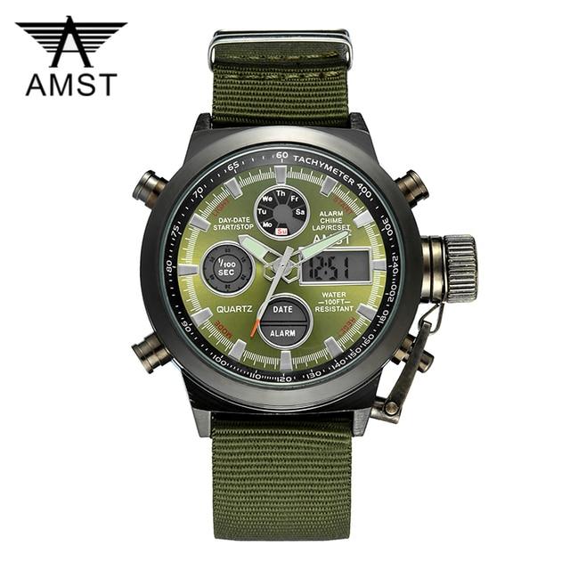 AMST צבאי שעונים צלילה 50 M ניילון & עור רצועת LED שעונים גברים למעלה מותג יוקרה קוורץ שעונים reloj hombre relogio Masculino