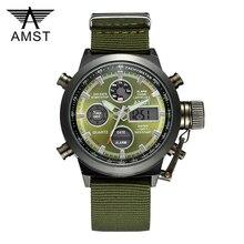 AMST Military Watches Dive 50M Nylon&Leather Strap LED Watches Men Top Brand Luxury Quartz Watch reloj hombre Relogio Masculino