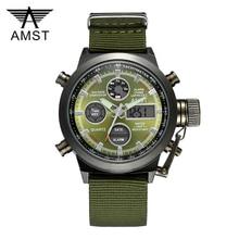 AMST wojskowy zegarki nurkowania 50M Nylon i skórzany pasek led zegarki mężczyźni Top marka luksusowy zegarek kwarcowy reloj hombre Relogio Masculino