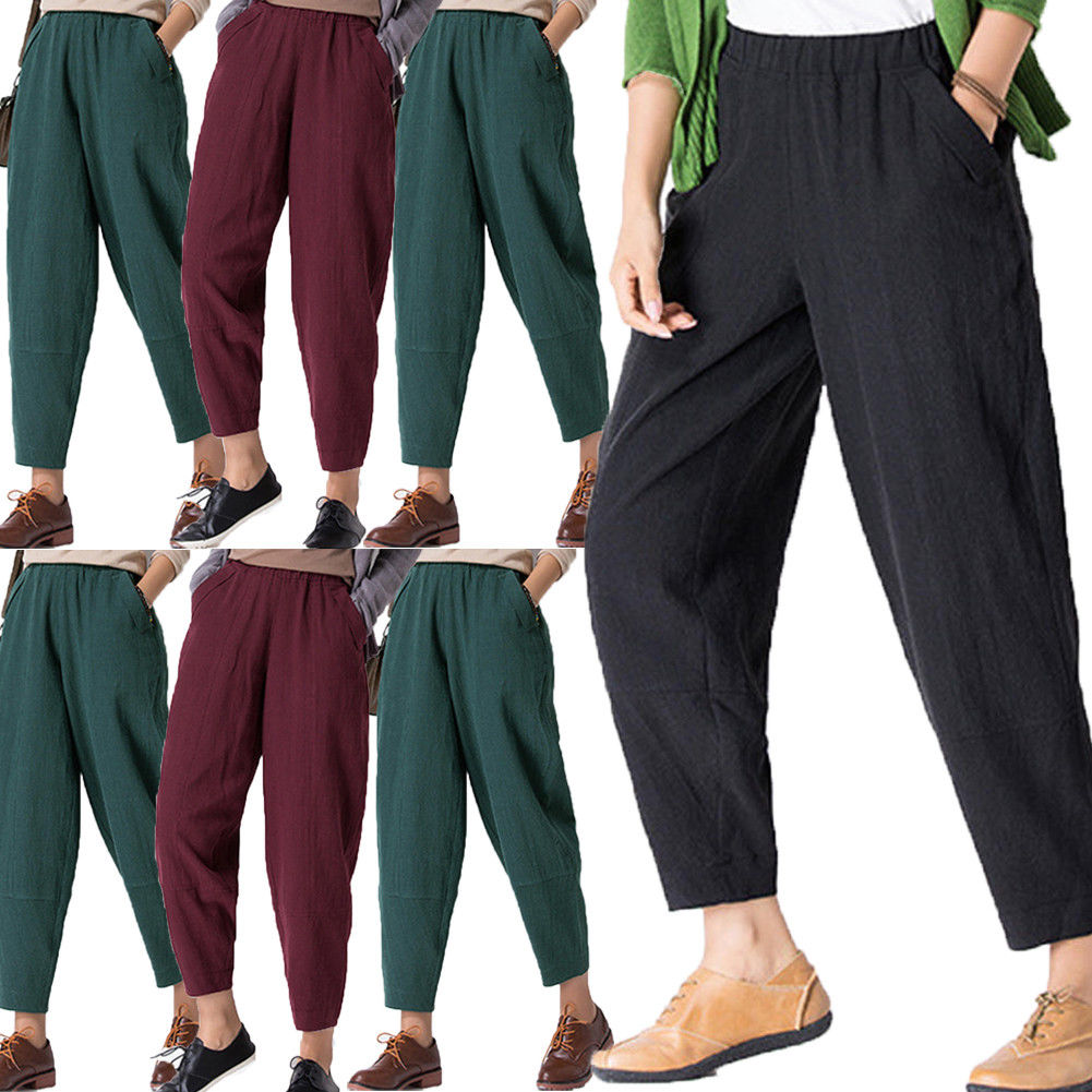 hirigin Causal Women Autumn Flower Print 2018 Drawstring   Wide     Leg     Pants   Loose Wine Red Navy Blue Black   Pant   Plus Size