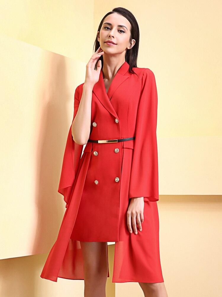 Spliced Cranté zoux Black Mini Double Mousseline 2019 Femmes Robe Taille Dames En De Soie Breasted Col Ol red Robes Z Mince Haute BRzqw0z