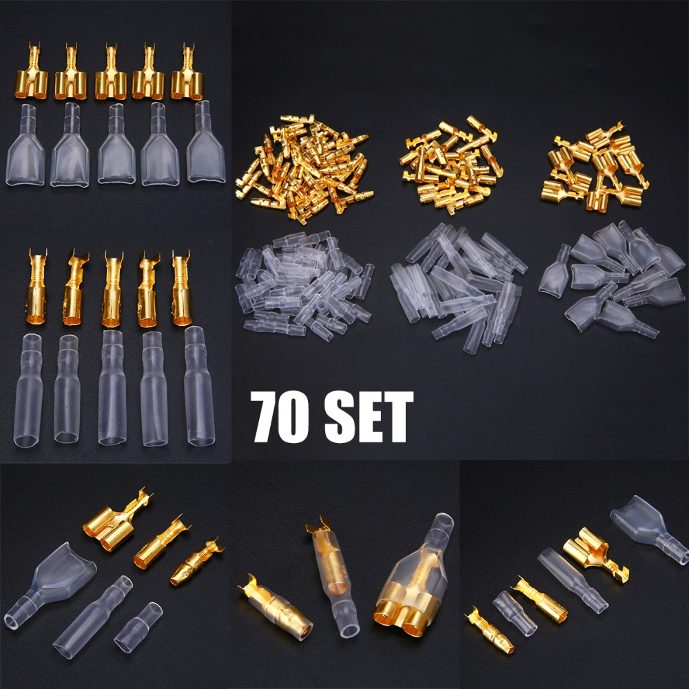 70 Set 3.9mm Male Female Double Motorcycle Bullet Wire Connector Terminals with Insulator Sleeve Cover Mayitr