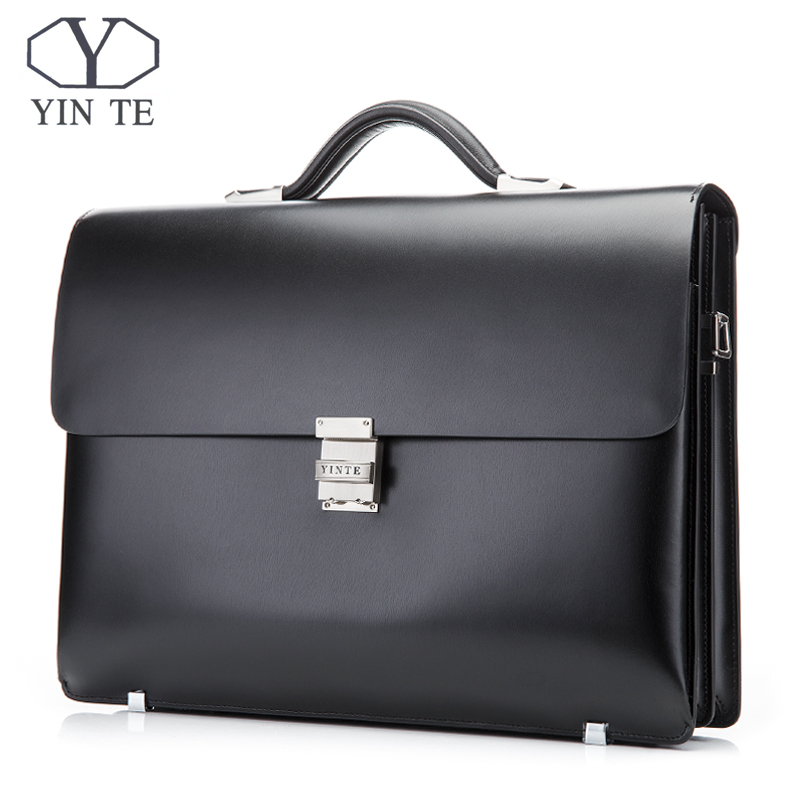 YINTE Leather Briefcase Black Men's Business Leather Bag High Quality Totes Lawyer Bag 14 Laptop Handbag Case Portfolio T8553-5