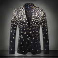 Europe and america style fashion mens floral blazer slim fit velvet blazer men costume homme men's clothing sze m-3xl /XF40-8