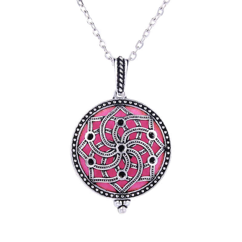 Ancient Silver Kaleidoscope Perfume Box Necklace Antique Retro Magnetic Aroma Essential Oil Diffuser Locket Pendant High Jewelry