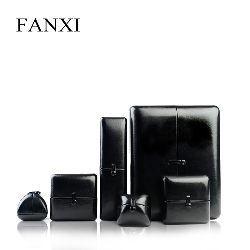 FANXI  Black Glossy PU Leather Velvet Box Double Door Ring Necklace Bangle Gift Jewelry Packaging Boxes Expositor