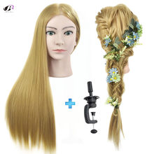 Bolihair Hairdressing Training Head for Hairdresser Blonde Hair Salon Mannequin Head Makeup Braiding Training Head for hairstyle(China)