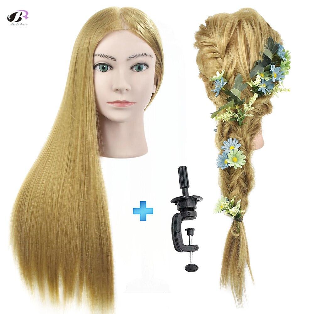 Bolihair Hairdressing Training Head for Hairdresser Blonde Hair Salon Mannequin Head Makeup Braiding Training Head for hairstyle