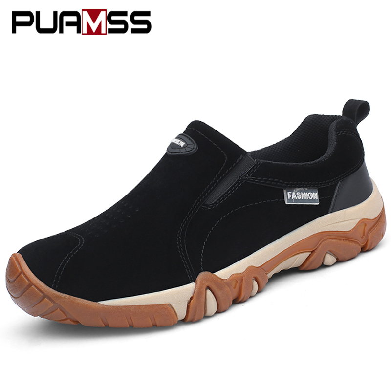 New High Quality Brand Men Shoes Genuine Leather Loafers Men Casual Shoes Breathable Outdoor Non Slip Walking Sneakers Men