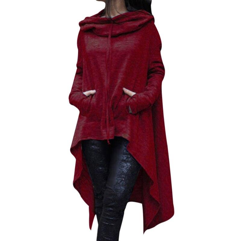 Fashion Hoodies Sweatshirt Women Casual Outwear Hoody Loose Long Sleeve Mantle Ladies Irregular Hooded Cover Pullover Streetwear