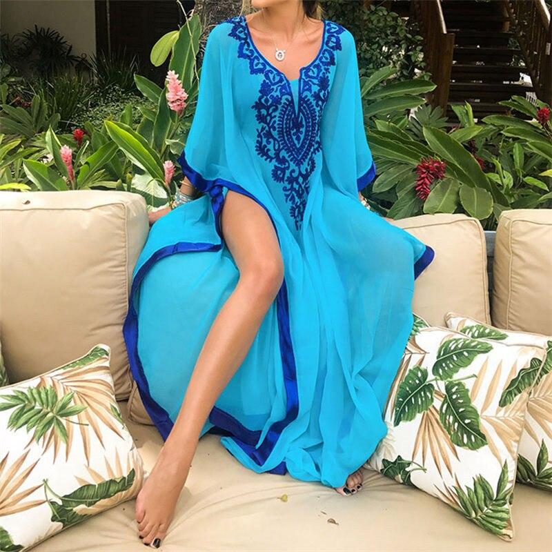 2019 bohème broderie été plage Robe en mousseline de soie tunique femmes grande taille vêtements de plage caftan Sexy demi manches Maxi Robe Robe