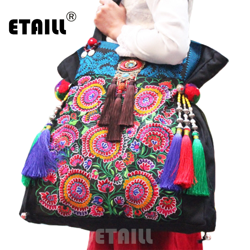 Super Large 50cm Ethnic Embroidery Bag Hmong Boho Thai Tassel Embroidered Bags Luxury Famous Brand Logo Handbags Sac a Dos Femme yunnan hmong vintage ethnic embroidered boho indian floral embroidery thailand famous brand logo bag and handbag sac a dos femme