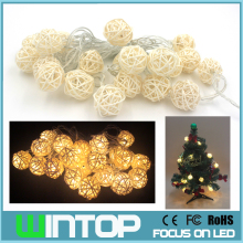 White/ Warm White AC110V/220V 4M/20LED Rattan Ball LED String Christmas Lights Garlands 8 Modes for Holiday Wedding Party