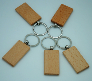 Image 5 - 60pcs Blank Rectangle Wooden Key Chain DIY Promotion Customized Wood Keychains Key Tags Promotional Gifts