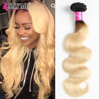 SAY ME Remy 1B/613 Ombre Malaysian Hair Bundles 1 3 And 4 Pc Body Wave Bundles 2 Tone Black Blonde Human Hair Weft 10 18 Inch