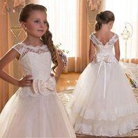 Кружевные платья с большим бантом для девочек, праздничные платья до щиколотки для девочек, платья для первого причастия, платье для свадеб...