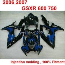Injection molding fairings for Suzuki GSXR600 2006 2007 black blue motorcycle fairing kit GSXR 600 750 K6 K7 06 07 TN09