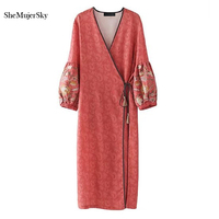 SheMujerSky Kimono Cardigan Long Women Blouses Embroidery Floral Chemise Femme Summer Tops 2017