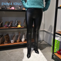 2019 New Black Leather Pants Over The Knee Boots Women Pointed Toe Sexy Chunky High Heels Shoes Woman Elastic Sock Waist Bootcut
